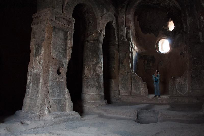 Sorchia inside the Grotto Church.