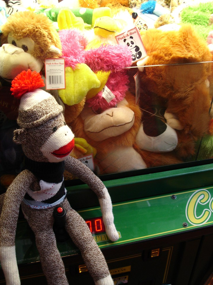 Sock Monkey is surprised to see so many kin at Disneyland.