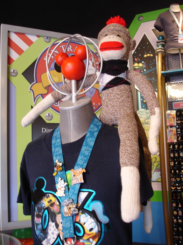 Sock Monkey adds interest to a Tomorrowland shop.