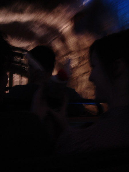 Chelsea reassures Sock Monkey as he experiences the first tunnel of the Thunder Mountain ride.