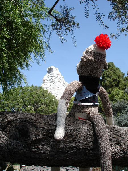 Aloft, Sock Monkey contemplates the snowy Matterhorn.