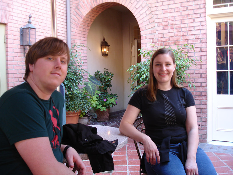 Winslow and Caitlin relax in the patio of the Disney Gallery.