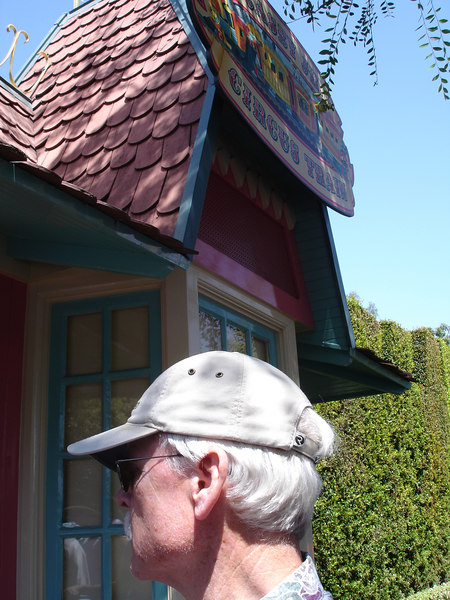 Tony inspects the Casey Jr. train depot, a 1955 Disneyland original.
