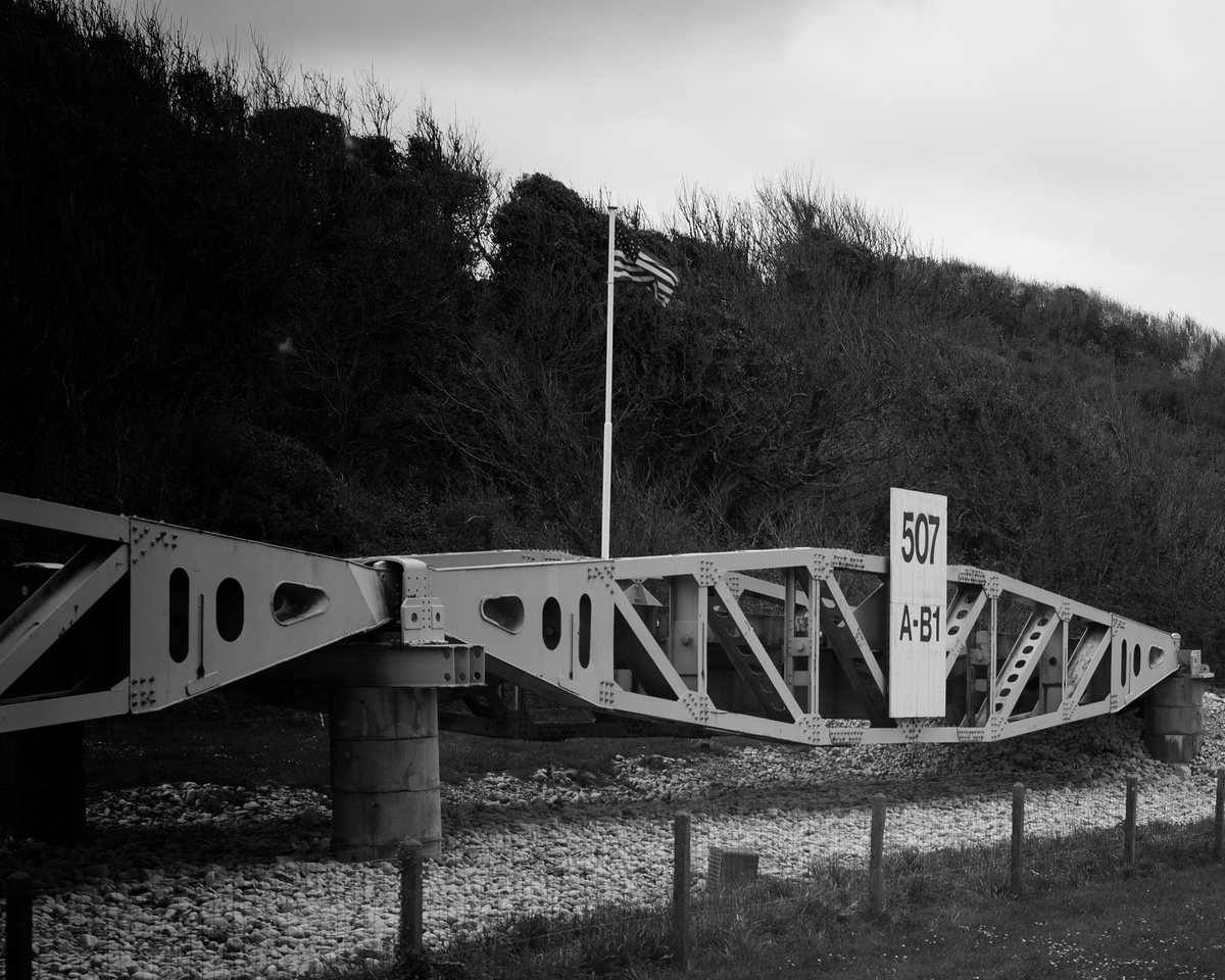 Example of bridging structures used by US Army combat engineers at Omaha Beach.
