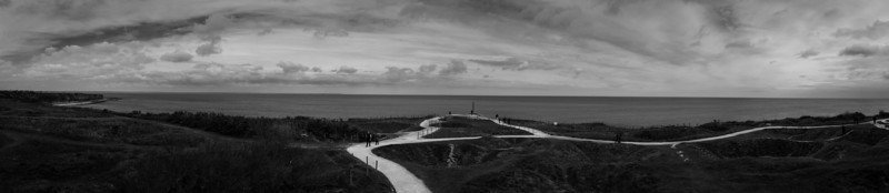 Point du Hoc.  Looking west and the English Channel.  To the far left is Utah Beach, to the far right is Omaha Beach.