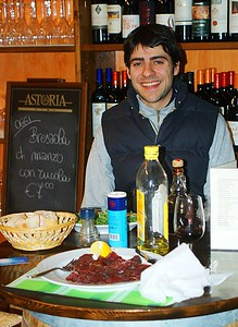 Massimo, co-owner, with my Bresaola -- not di manzo.
