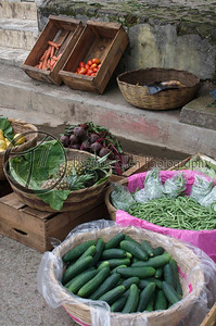 Vegetable stand.  Apaneca, Ahuachapan, El Salvador.