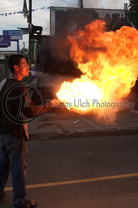 The fire breather! This poor fellow has gasoline all over him. He was walking from car to car trying to elicit donations from people with limited success. Sonsonate, El Salvador