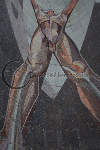 El Chulon ( The Naked Man) by Claudio Cevallos and Violeta Bonilla. This mosaic is on the front of the Museo de Arte de El Salvador (MARTE) San Salvador, El Salvador.