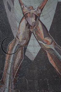 El Chulon ( The Naked Man) by Claudio Cevallos and Violeta Bonilla. This mosaic is on the front of the Museo de Arte de El Salvador (MARTE) San Salvador, El Salvador.