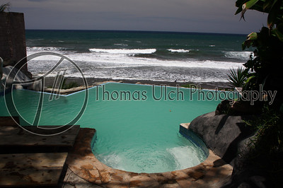 This is the infinity pool at the Hotel Tekuani Kal. Highly recommended if you like surfing or just walking on the beach. They have a temescal (sweat lodge) and a very nice restaurant! La Libertad, El Salvador.