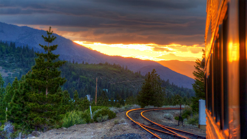 While waiting for train to turn on wye at Black Butte near Mount Shasta I spotted this sunset