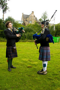 Pipers at the Elliott Clan gathering.