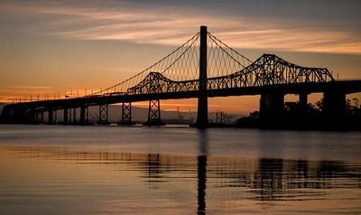 Sunrise on the eastern span 3/16/2014