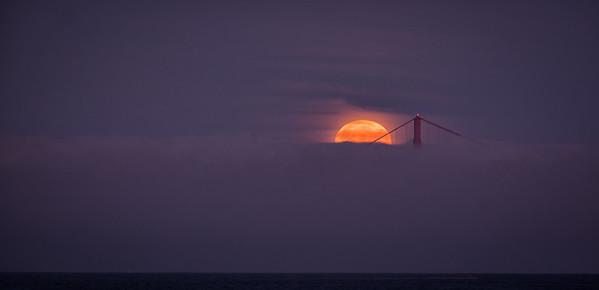 Full moon set over the Golden Gate Bridge  3/16/2014