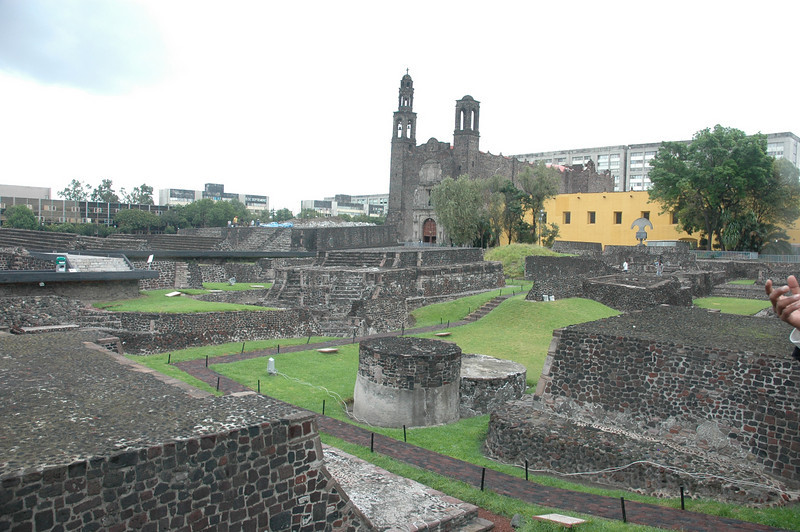 This the Plaza de Tres Culturas (Three Cultures Plaza) in the Tlatelolco neighborhood.  Named the three cultures that inhabited the area: mesoamericans, christianity and mestizo cultures.