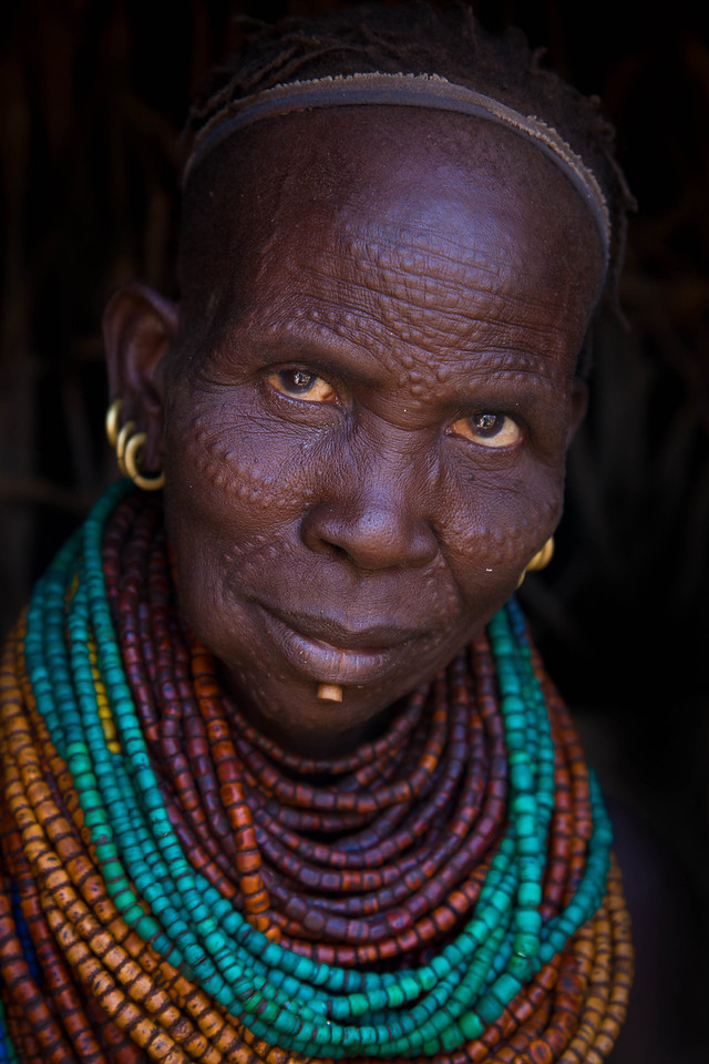 Dassenech woman with elaborate scarification