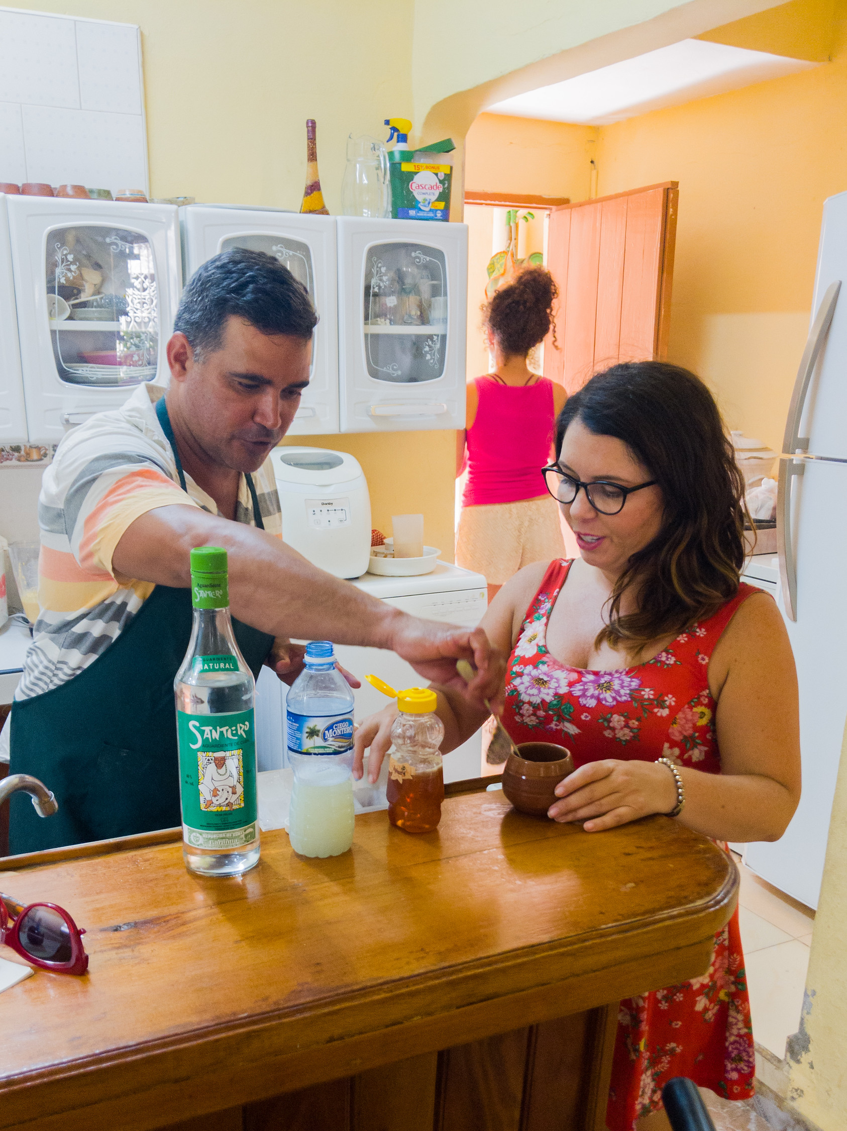 Learning how to make Canchanchara, Trinidad's traditional drink.