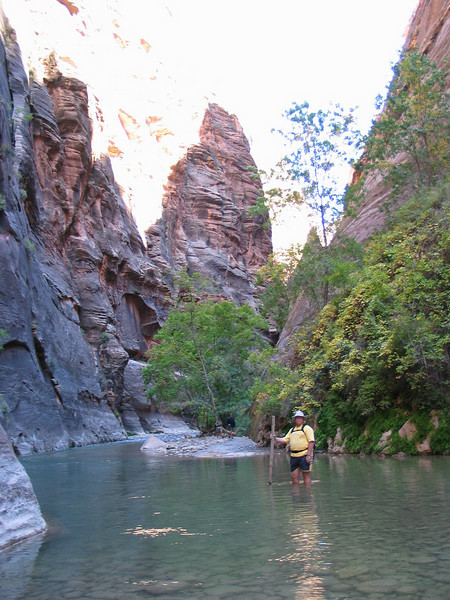 Starting off into The Narrows in the Virgin River; Zion