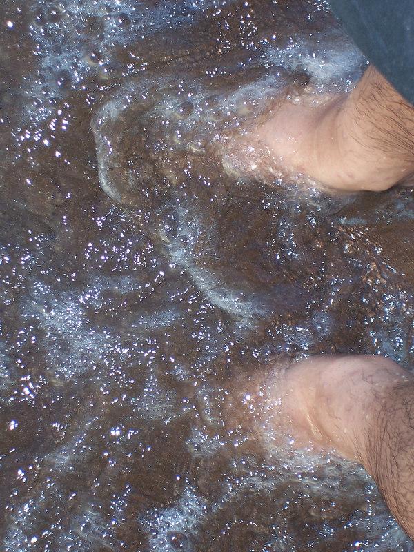My feet in the Caribbean Sea