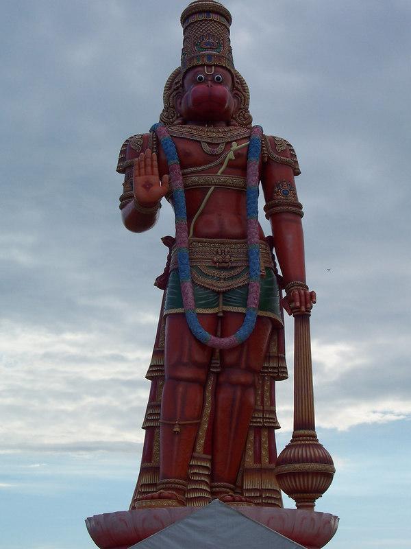 80 foot tall Hanuman murtee at the Datta Yoga Centre