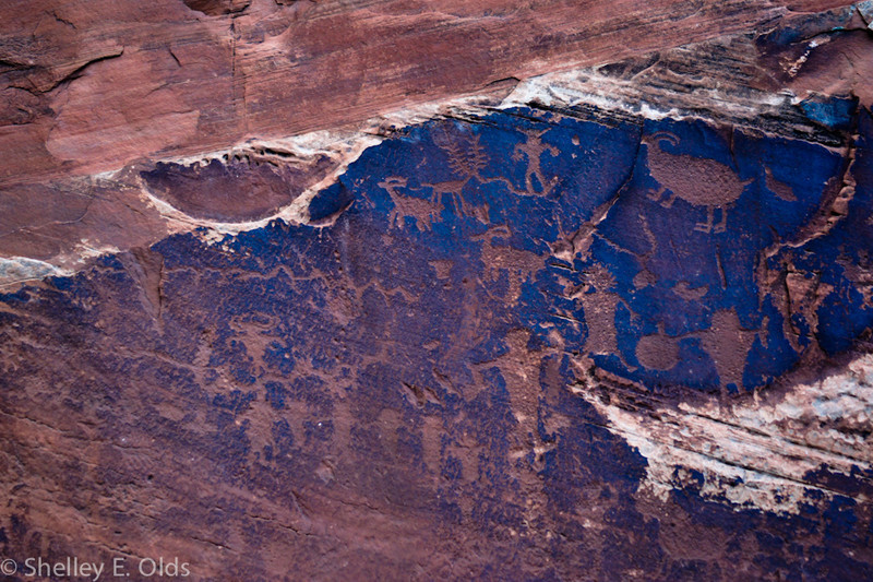 Petroglyphs along 279 to Potash; Trip to Canyonlands and Arches National Park; Moab, UT