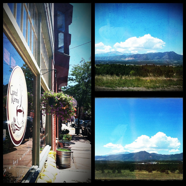 Views on the drive to Manitou Springs, CO.  Lunch at Good Karma in Manitou Springs.