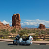 Arches National Park.  Mountains in nearby Moab in the distance