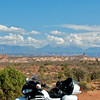Arches National Park, with the mountains surrounding Moab in background