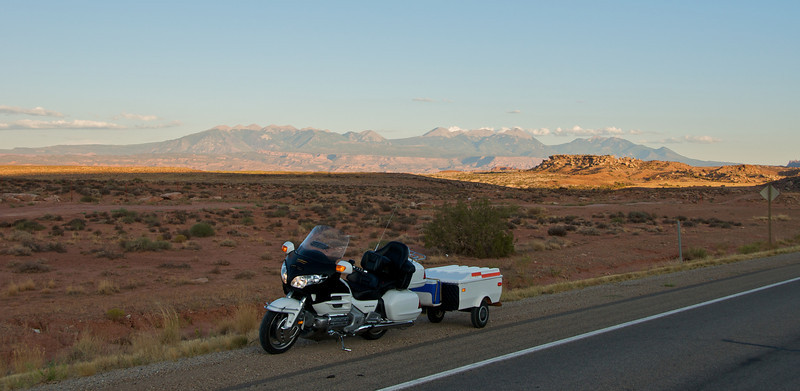 Road to Canyonlands National Park, Utah.  The mountains in the background surround Moab Utah.