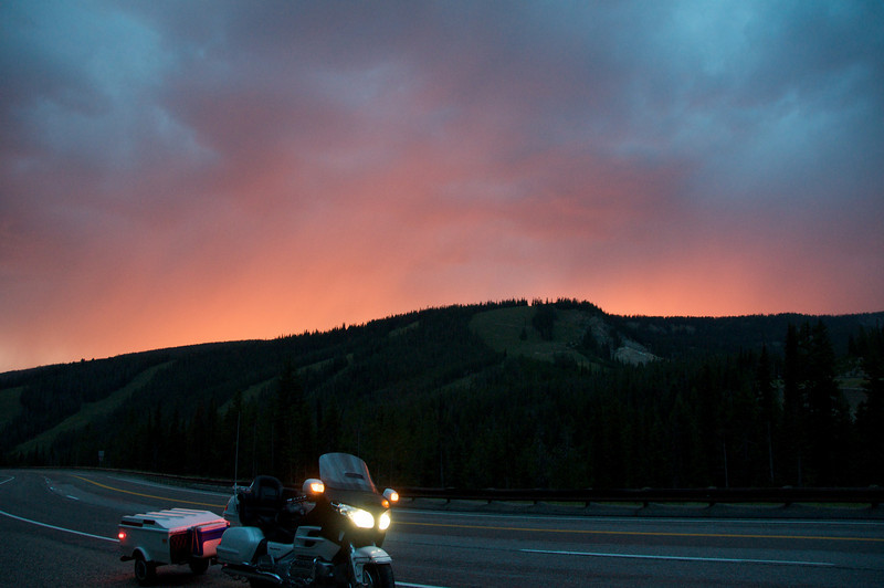 A completely unedited photo capturing exactly what this sunset looked like.  Hwy 93 at the Montana/Idaho border.