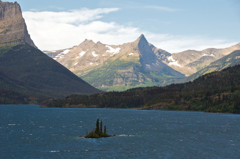 Wild Goose Island in St Mary's lake.   Looking westward