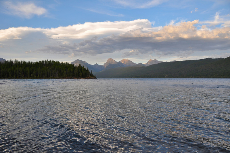 Looking northeast on Lake McDonald at Glacier National Park, a hundred yards from my campsite