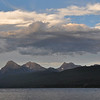 Lake McDonald.  Note the brownish clouds in the foreground.  The difference in color was more pronounced in person.