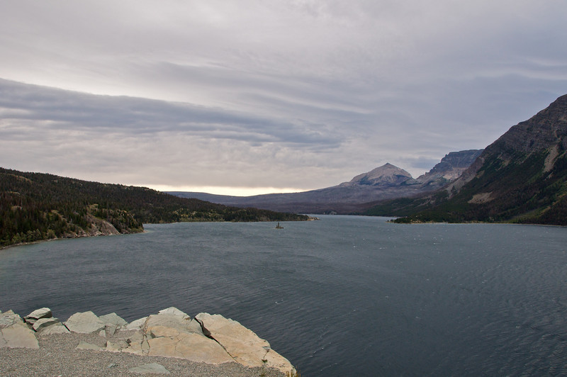 Going-to-the-Sun highway: Descent to Canada<br /> <br /> St. Mary's lake with Wild Goose Island just visible in the distance