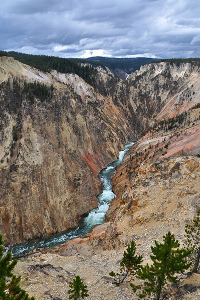 Above Lower Falls, Yellowstone.  Upper Falls is visible near top of pic