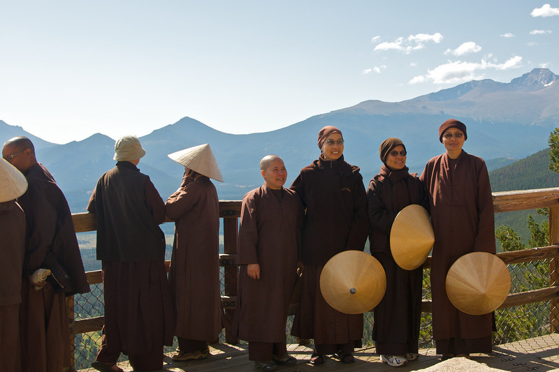 Monks at Rocky Mountain National Park viewpoint