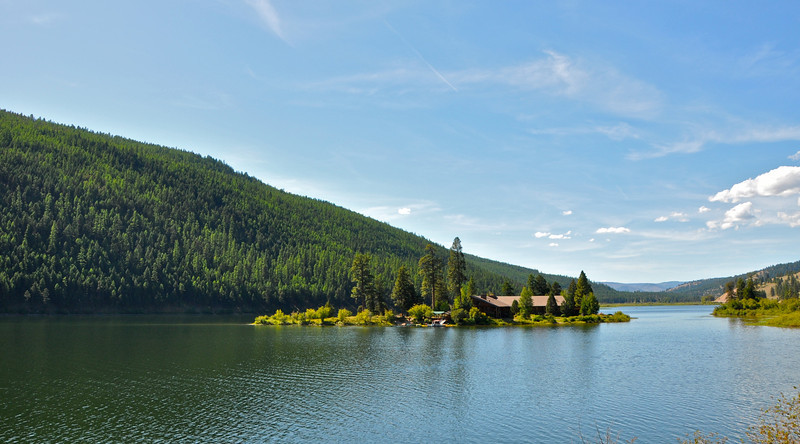A lodge on an island, on the 83 between Clearwater and Kalispell MT