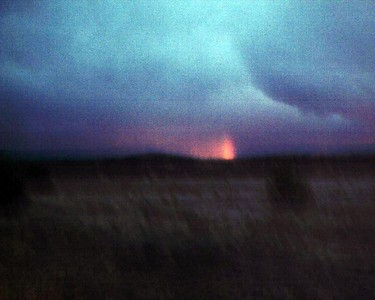 As I headed towards Magdelena from the VLA at sunset, a vertical rainbow formed over the Magdelena Mountains