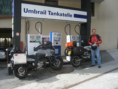 Filling up next morning to go into Italy and over the Stelvio Pass