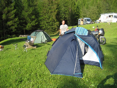 Camp Site on the Swiss side at the very foot of the Stelvio pass, Very beautiful