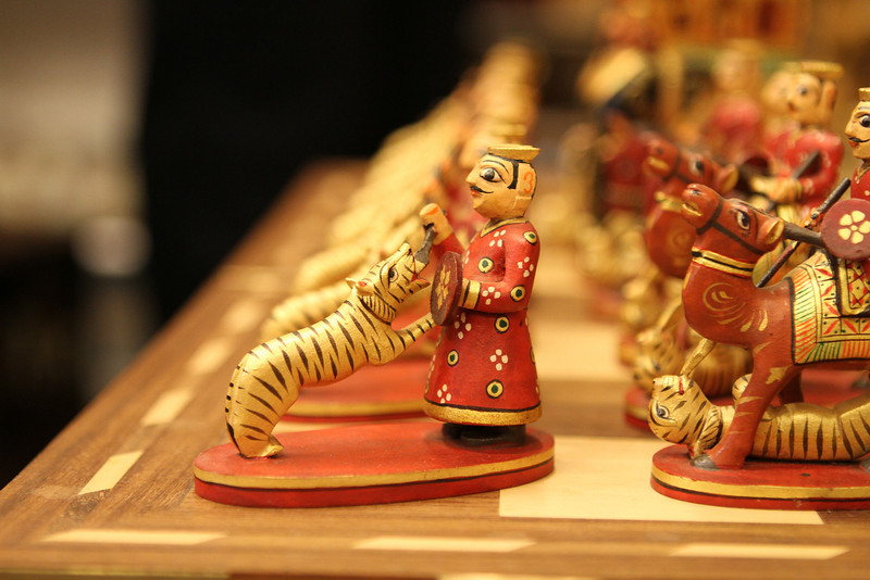 Impressive carved chess set in Bangalore
