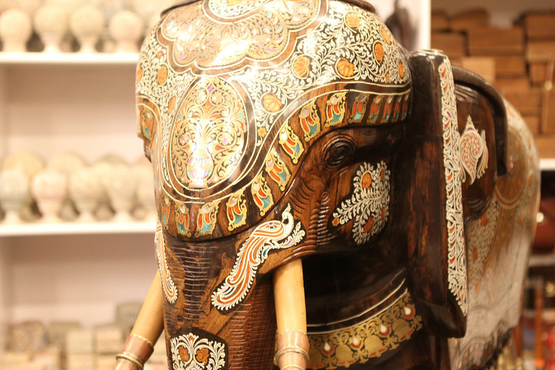 Exquisite wood and ivory carving
