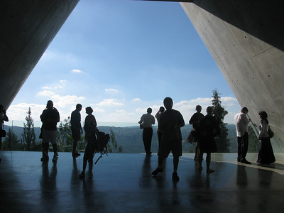Yad Vashem Memorial.......after going through a tunnel/maze of exhibits about the holocaust, one winds up in this open balcony of hope