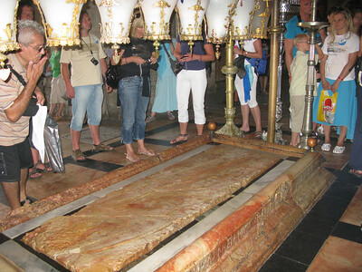 According to Helen II, the site of the slab where Christ was laid out after the deposition and before the entombment.