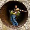 My cousin Garrett Holland in a pipe near Ithaca Falls in Ithaca, NY