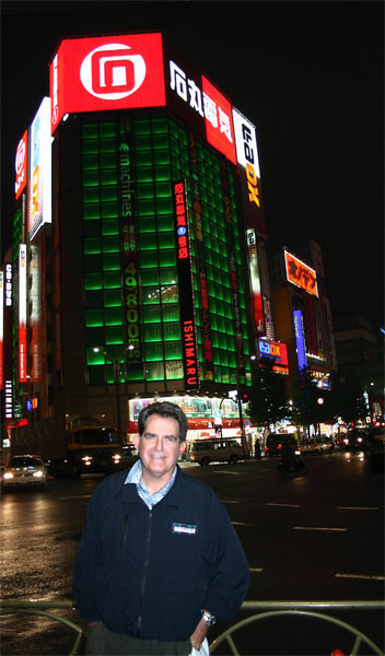 Joe in Tokyo's Akihabarra section, doing some shopping in the electronics stores. <br /> photo: Tony Gomez, Digital Photographer magazine