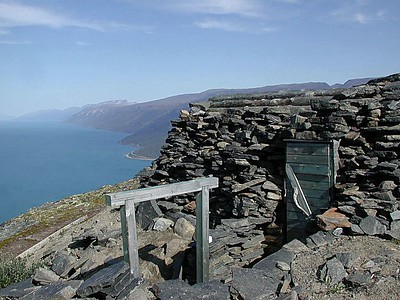 This is a bunker still standing. German soldiers lived here and aimed  their artillery into the Fiord below. Can't imagine what it was like in the winter time - one wrong step and !!!!!