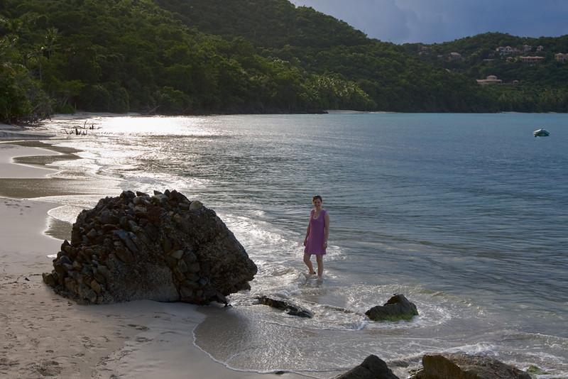 Steph at Cinnamon Bay beach.