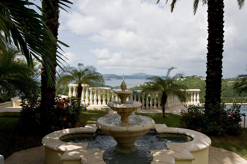 A view of St. Thomas from the grounds of C'Est Blue.
